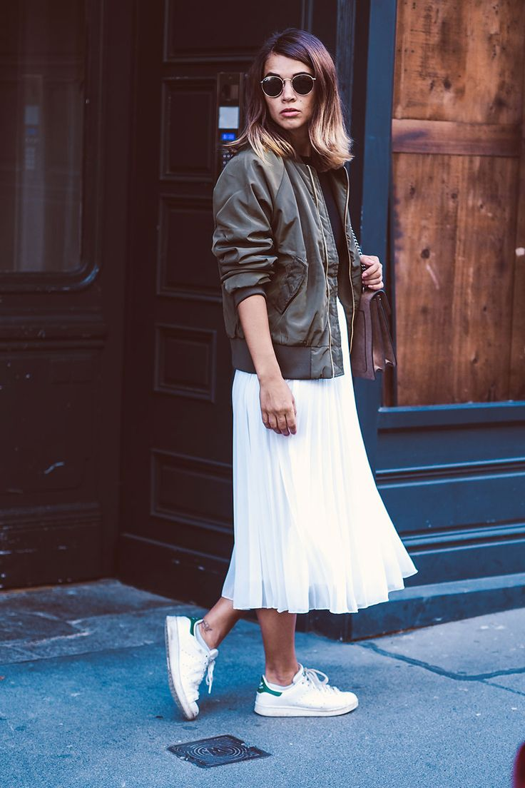 Bomber Jacket + Pleated Midi Skirt + Sneakers