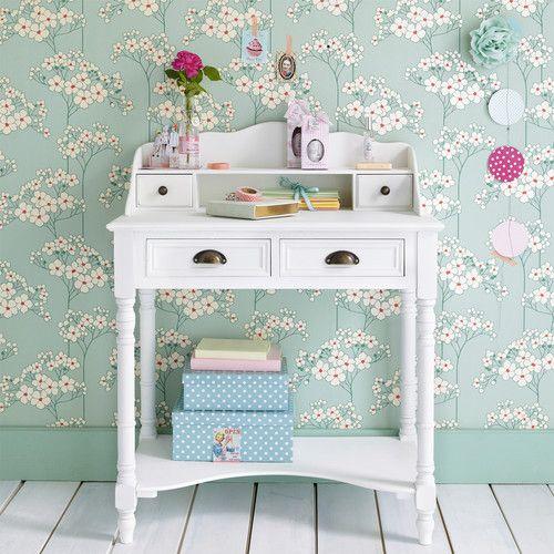 bureau secr taire en bois blanc l 80 cm jos phine achats bureaux et bureaux. Black Bedroom Furniture Sets. Home Design Ideas