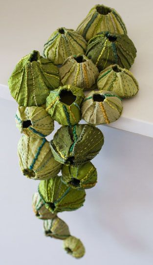 Hand stitched Barnacles by Fiber Artist Sandra Golbert