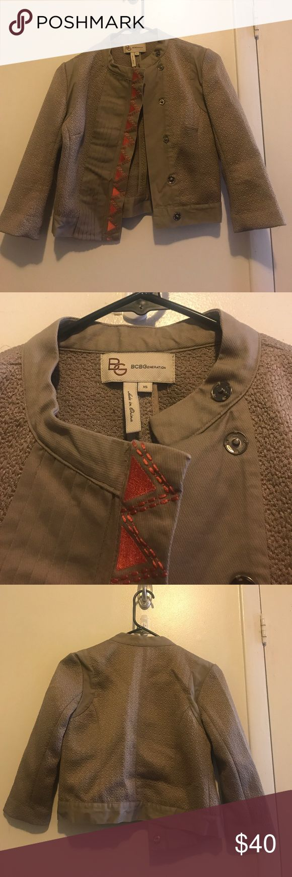 BCBGeneration Jacket I'm selling a pre-owned BCBGeneration Jacket in Taupe. It's a size XS. BCBGeneration Jackets & Coats