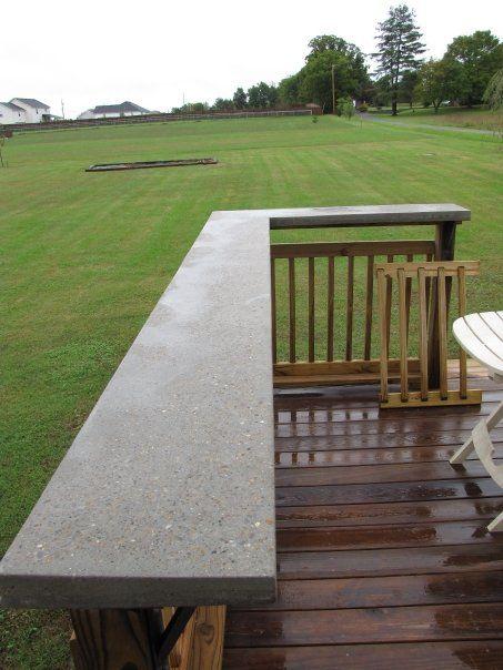 Concrete bar on wood deck renovations and concrete for Concrete patio railing