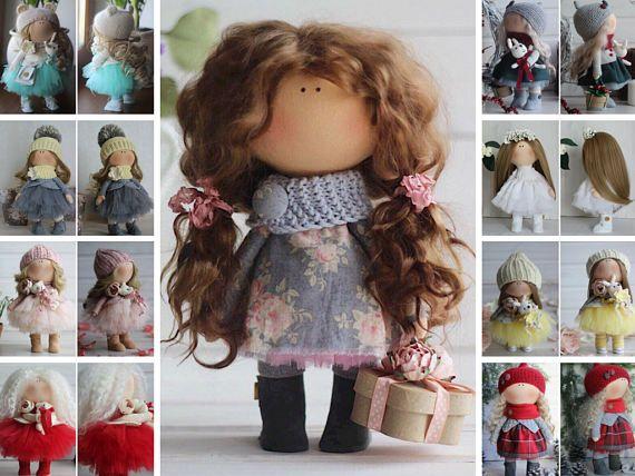 Bambole Interior doll Textile doll Tilda doll Handmade doll Fabric doll Blue doll Soft doll Cloth doll Baby doll Rag doll by Master Oksana Z