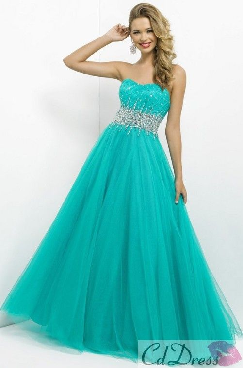 Ball Gown Sweetheart Tulle with Beading and Sequins Blue Prom Dress (in pale orange)