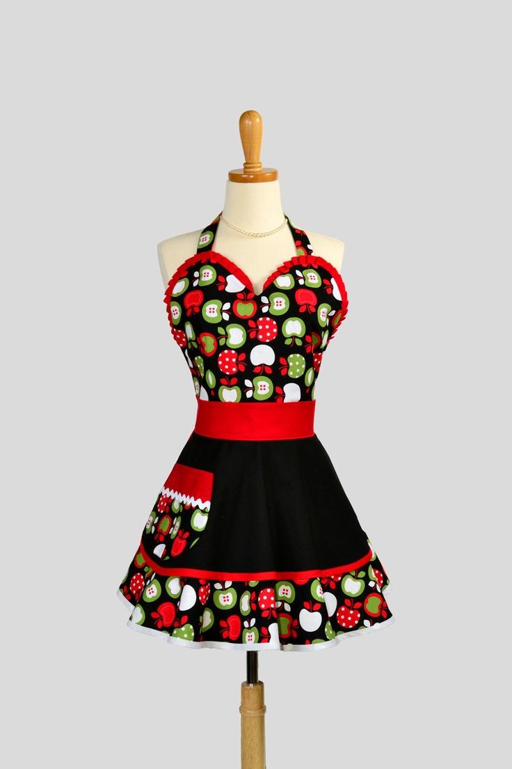 womens flirty pinup sweetheart apron retro ruffled. Black Bedroom Furniture Sets. Home Design Ideas