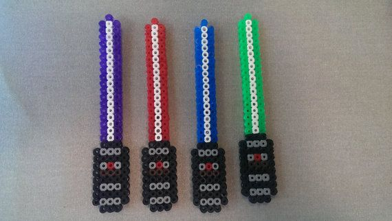 Star Wars Light Saber Hama and Perler Bead Magnet by FortheloveofJags