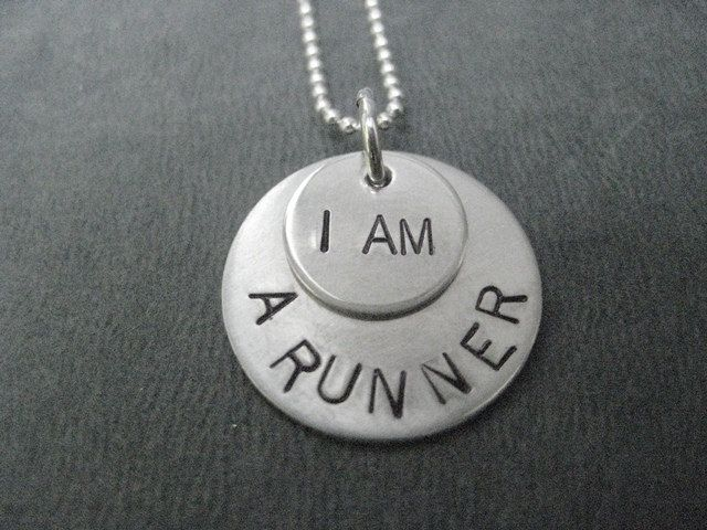 I AM A RUNNER 16 inch Sterling Silver - Running Necklace on 16 inch Sterling Silver Ball chain - Running Jewelry. $31.00, via Etsy.