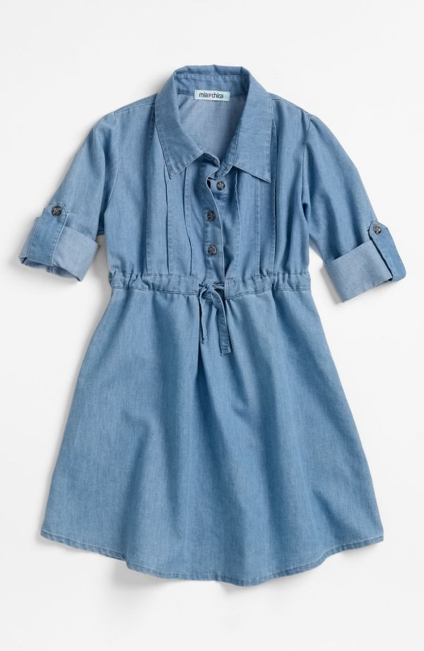 NORDTRUM LITTLE GIRLS CLOTHING | Mia Chica Chambray Dress (Little Girls & Big Girls) by nordstrom