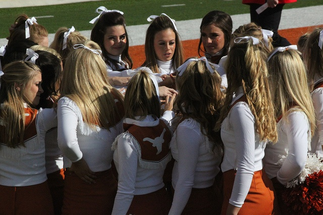 """This was a pregame pep talk the Texas cheerleaders do before each game. Today they trash talked Texas Tech and their """"Panhandle"""" cheerleaders (Texas Tech's home is in the Panhandle section of the state of Texas). They called them fake Texans....since Texas outdoor and gardens"""