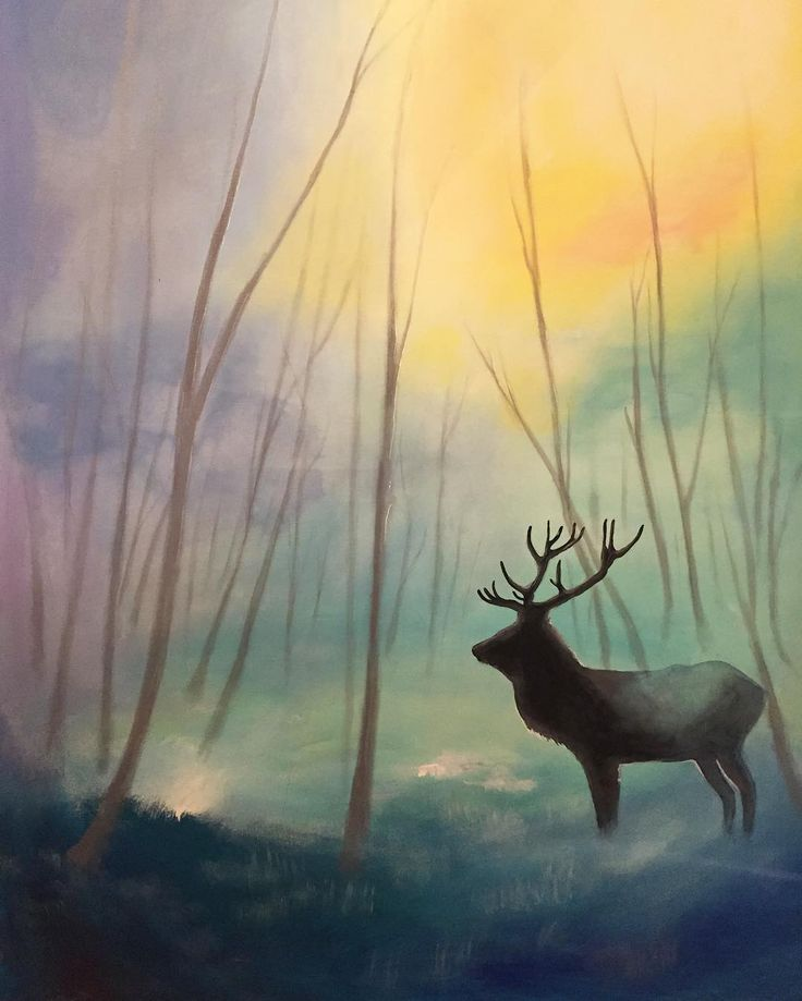 Bringing life into an old painting.  Still lots of work to go.   #painting #acrylic #artist #art #wip #instaart #picoftheday #yow #ottawa #ottawaart #nature #caribou #canada #rainbow #fantasy