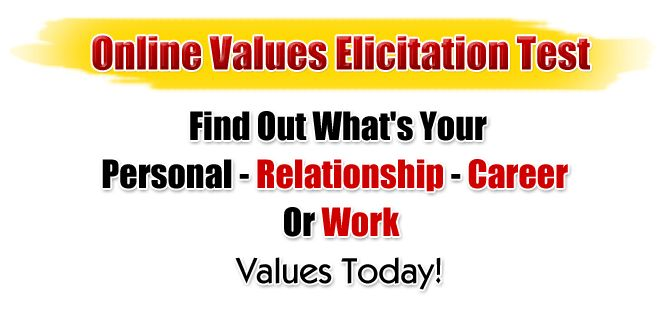 Try Online Values Elicitation Test A Test Which Gives You Your Own Personal Work Career or Relationship Values Today