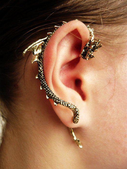 Gothic Punk Dragon Bite Ear Cuff Earring
