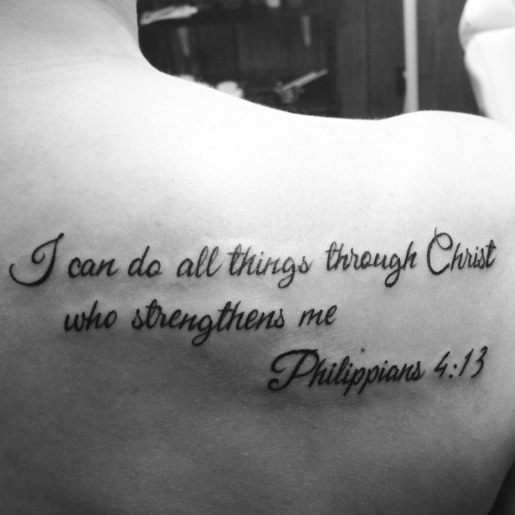 Philippians 4:13 tattoo but the inner arm