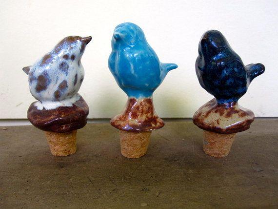 Ceramic Bird Wine stopper - aqua