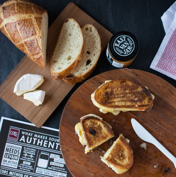 Brie + Havarti Sourdough Grilled Cheese Sandwiches with Plum Jam and Hot Banana Peppers