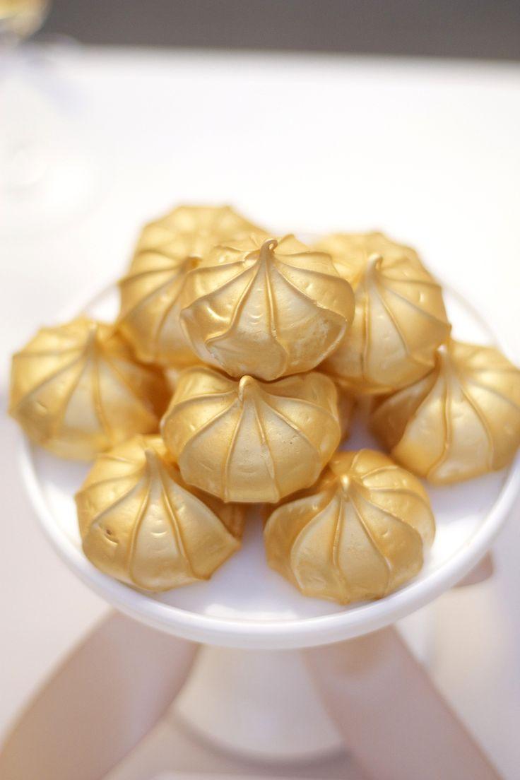 Gold Shimmer Meringue Cookies - Gold Dessert Table Idea
