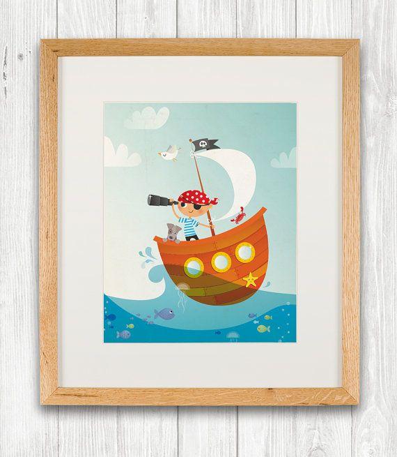 Pirate nursery art print illustration kids by IreneGoughPrints, €11.95