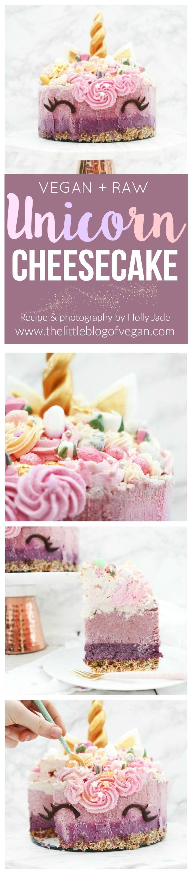 Magical raw, vegan & gluten-free 4 layer berry unicorn cheesecake with vegan pastel buttercream! Easy to make and eye-catching!  #unicorn #cheesecake