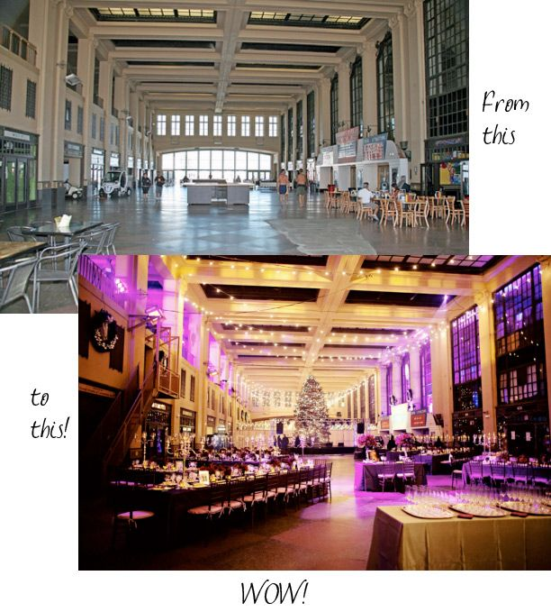 Wedding transformation with wedding decor and lighting, Asbury Convention Hall
