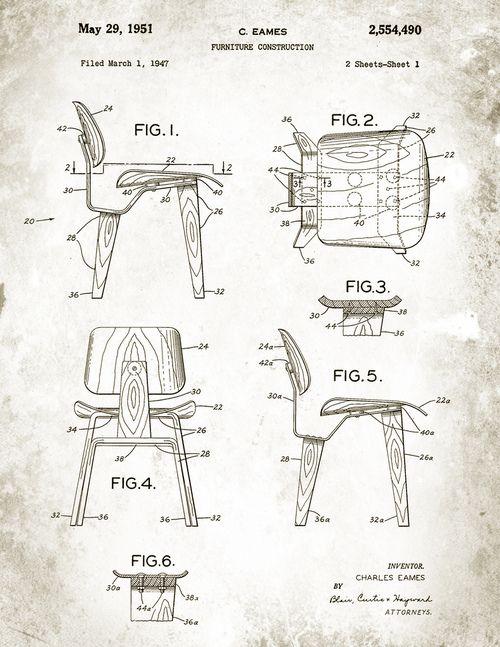 Charles eames patenttegninger for bytrestolen dcw