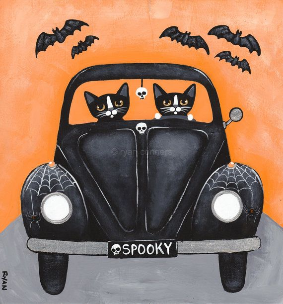 "Halloween CATS Road Trip Driving Cats Original by KilkennyCatArt ""Spooky Road Trip""  -Painted with Golden acrylics. -Approx. 8"" x 7 1/4"" x 1"" Piece of pine (left over from shelves I put up) -Topped with two coats of gloss varnish. -Signed, titled, and dated on the back by 	Ryan Conners  These two tuxedo cats really loved Halloween! Here they are, out for a ""spooky"" road trip!"