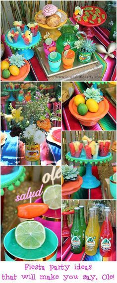Fiesta Party Ideas for Cinco de Mayo    Mexican | Latino | Decoration | Party Planning | Events | Celebration | Flowers | Cans | Fiesta | Maracas | Drinks | Bebidas | Ceviche | Panes mexicanos | Fruit salad @LaurasLilParty