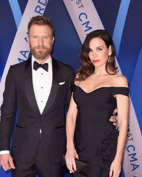 Dierks Bentley's wife, Cassidy, wearing our morganite and diamond ring while attending the 2017 CMAs!
