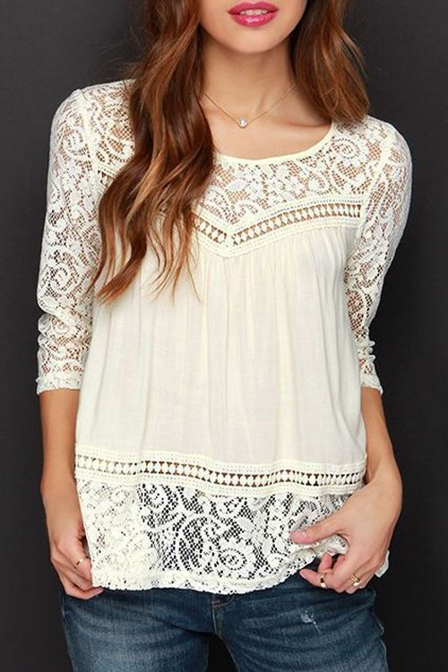 Openwork Lace Hook Chiffon Blouse WHITE: Blouses | ZAFUL
