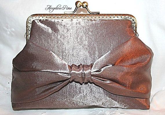 satin clutch satin bag satin purse bow by AngelineRosePurse