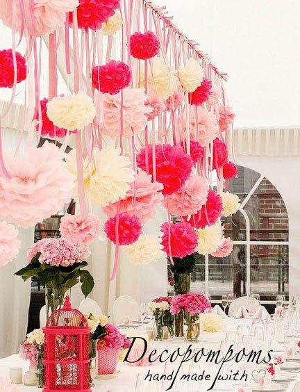 15 formati misti pompon di carta velina pompon insieme - colori personalizzati - carta-molto soffici - decorazioni per le feste di nozze