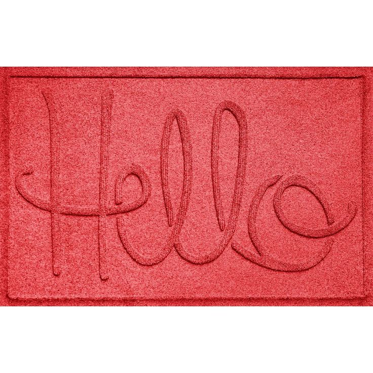 WaterGuard ''Hello'' Indoor Outdoor Mat - 24'' x 36'', Brt Red