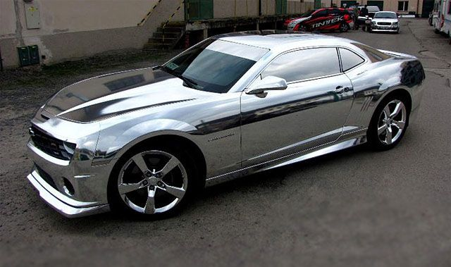 "2011 Chevy Camaro - No this is not from a video game, it's real ""chrome"" foil wrap from Tintek."