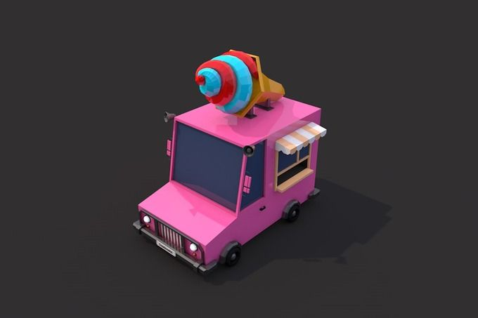 Low Poly Ice Cream Car by CreativeeArt on @creativemarket