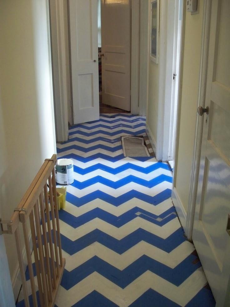 chevron-painted floor