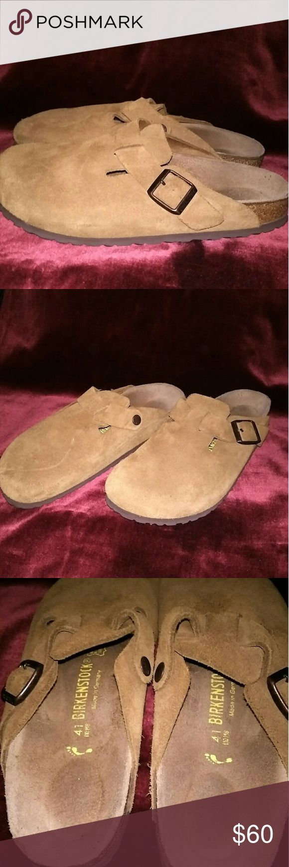 Birkenstock Boston Tan Suede Clog Shoe Size 41 Like new condition, size 41 which translates to a woman's 10, and men's 8, soft foot bed, soles show no wear. Non smoker home Please view photos carefully as they are part of the discription. Birkenstock Shoes Mules & Clogs