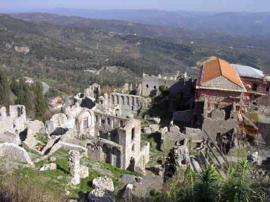 The archaeological area of Mystras in Sparta.