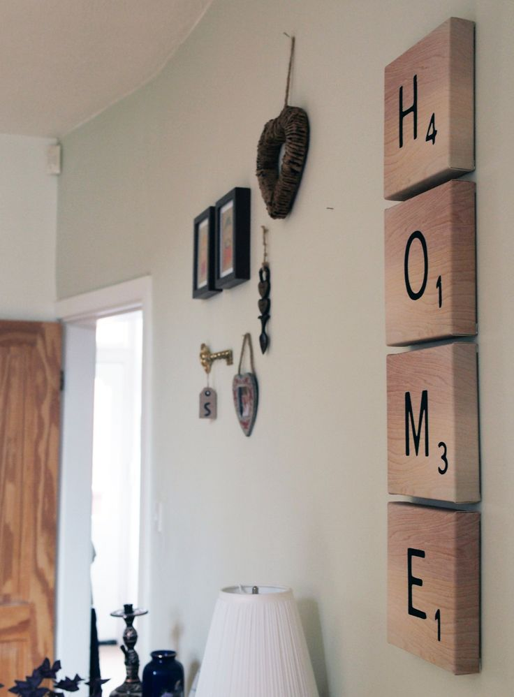 Scrabble Letter Tile Canvas. Could use this for a kids room and their name or something :)