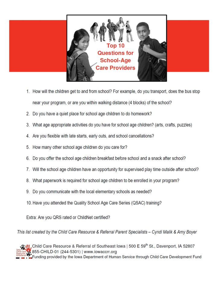 Top 10 Questions for SchoolAge Care Providers School