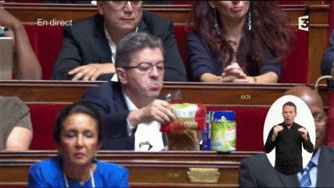 French deputy bringing food to the National Assembly