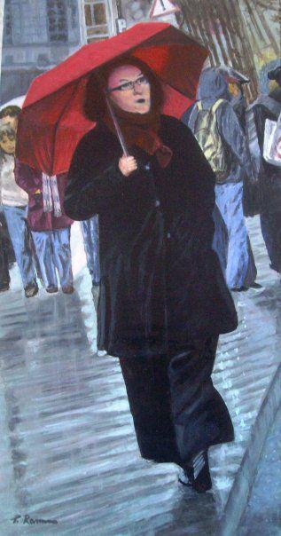 ragazza con ombrello rosso