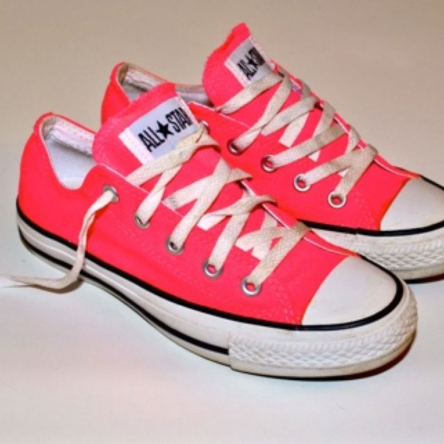 CONVERSE ALL STAR Vintage Electric Neon Flamingo Pink Low Top Sneakers Shoes…