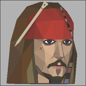 ジャックスパロー・カリブの海賊の展開図 似顔絵 無料 ダウンロード ペーパークラフトファン