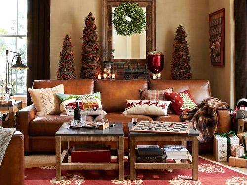My Caramel Colored Leather Couch Christmas Family Room From Pottery Barn Home Family Room