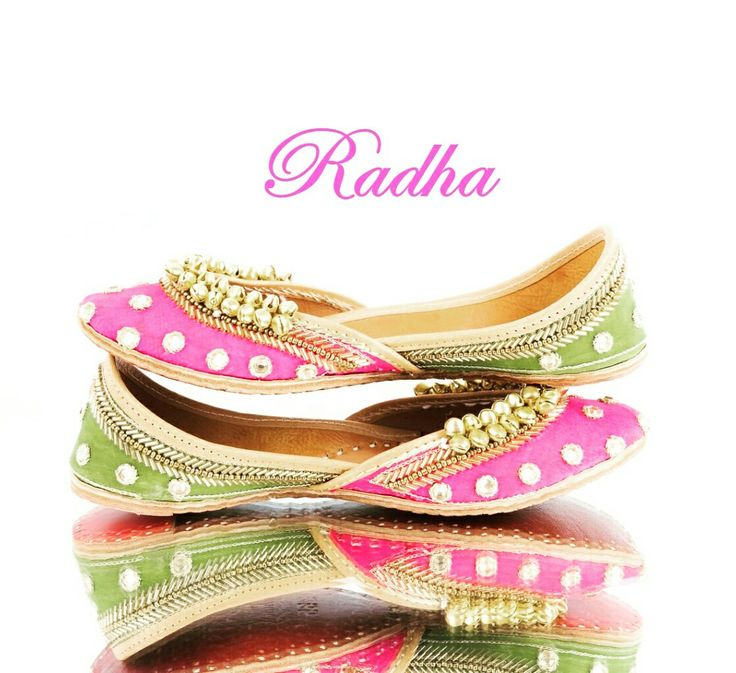 On the occasion of #Diwali, the #PiyaAndLiz team brings you the stunning Radha #jutti ♡ Tastefully mixing #pink and #green, blinged out in #mirror work and adorned with a #brasscrown - #Radha is a must have for every #Fashionista! Limited pairs in stock. Email/DM for price inquiries. Contact info in bio. #leather #shoes #traditionallook
