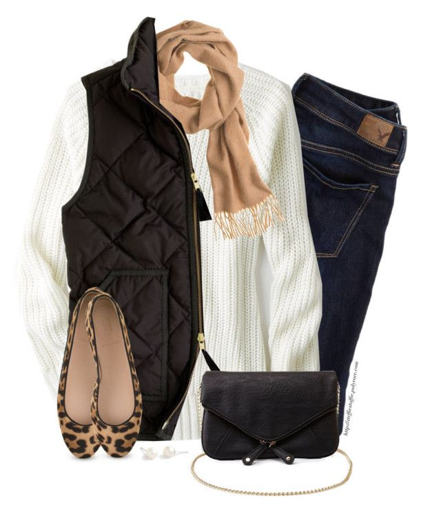 """Camel scarf, Black vest & Leopard flats"" by steffiestaffie ❤ liked on Polyvore featuring American Eagle Outfitters, J.Crew and Charlotte Russe"