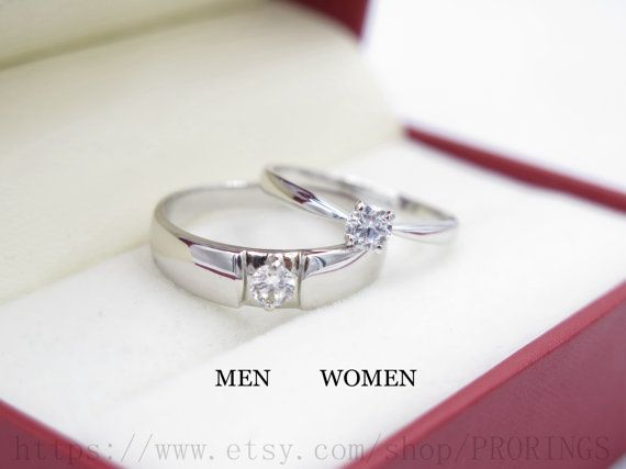 2pcs Free Engraving Diamond rings Wedding Couples by PRORINGS