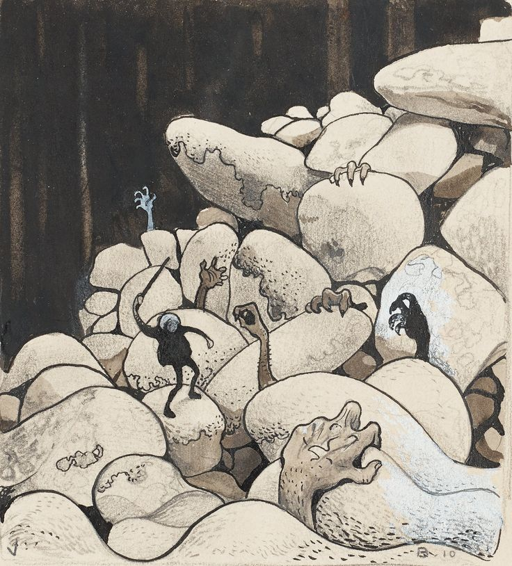 John Bauer (1882-1918) Trollen i stenröset (Trolls amongst the stones)