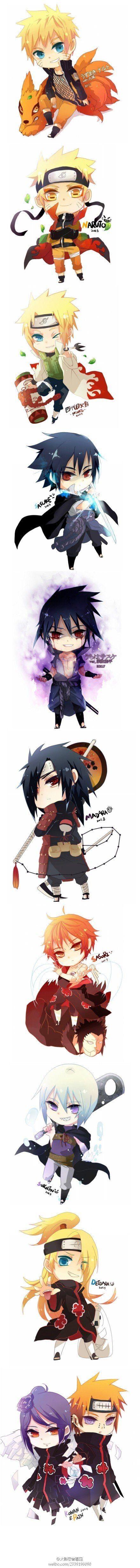 Naruto, Minato, Sasuke, Madara, Sasori, Deidara, Suigetsu, Pain, and Konan.