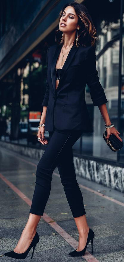 Black Sexy And Trendy Suit Fall Holiday Style Inspo by Vivaluxury