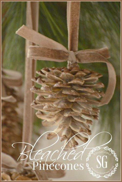 bleached pine cones Christmas ornaments