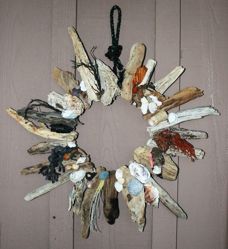 Sunburst ocean wreath with found items shells driftwood for Seashell wreath craft ideas